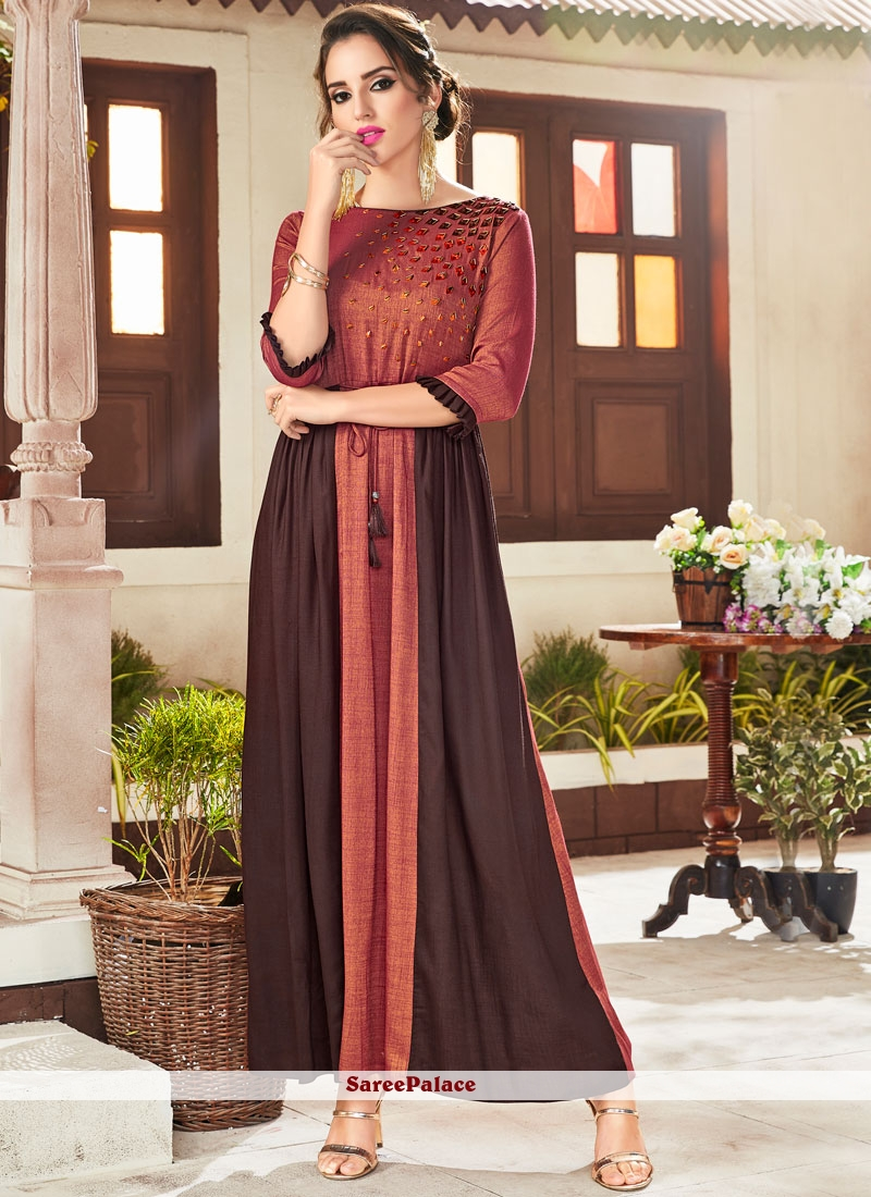 Embroidered Rayon Brown and Rust Party Wear Kurti