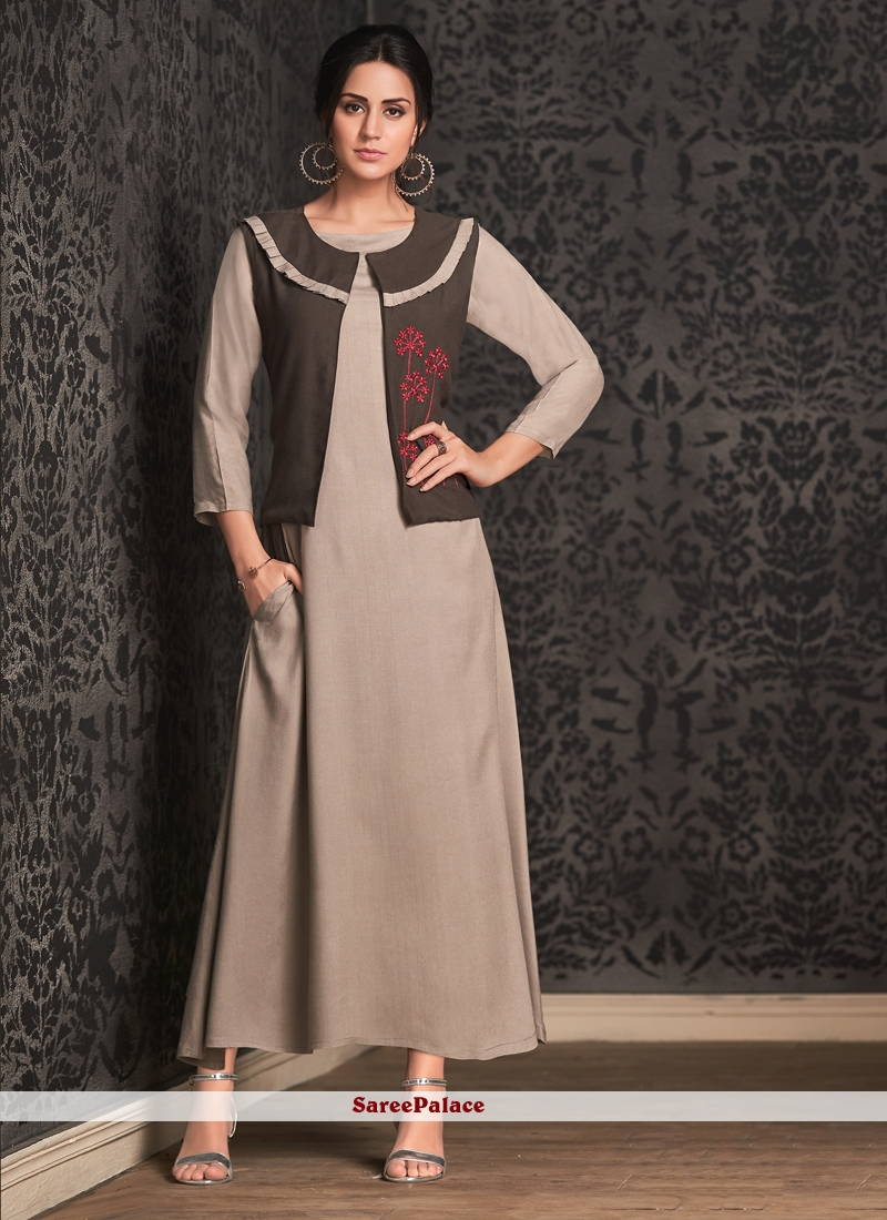 Embroidered Rayon Brown Party Wear Kurti