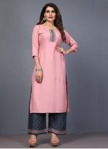 Embroidered Pink Rayon Designer Kurti
