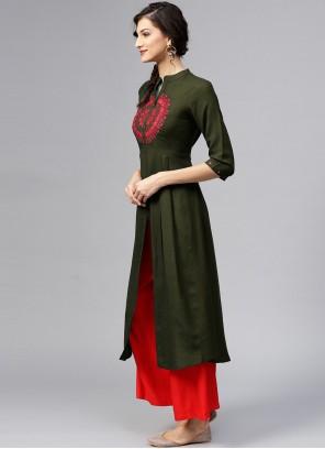 Embroidered Rayon Green Designer Kurti