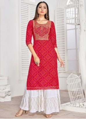Red Embroidered Rayon Designer Kurti