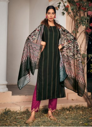 Embroidered Rayon Green Pant Style Suit