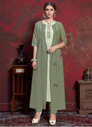 Embroidered Rayon Green Party Wear Kurti