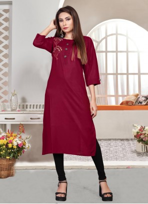 Embroidered Rayon Magenta Party Wear Kurti
