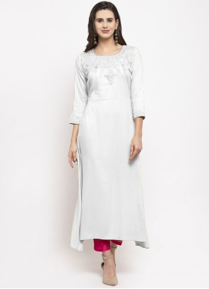 Embroidered Rayon Off White Party Wear Kurti