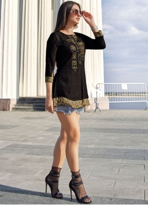 Embroidered Rayon Party Wear Kurti in Black