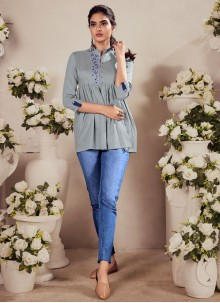 Embroidered Rayon Party Wear Kurti in Grey