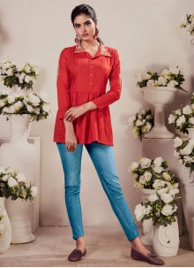 Embroidered Rayon Red Party Wear Kurti