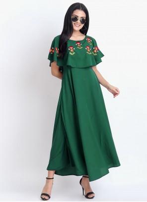 Embroidered Rayon Sea Green Party Wear Kurti