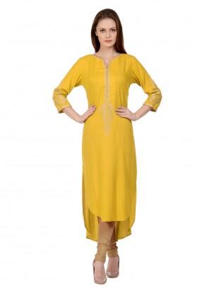Embroidered Rayon Yellow Designer Kurti