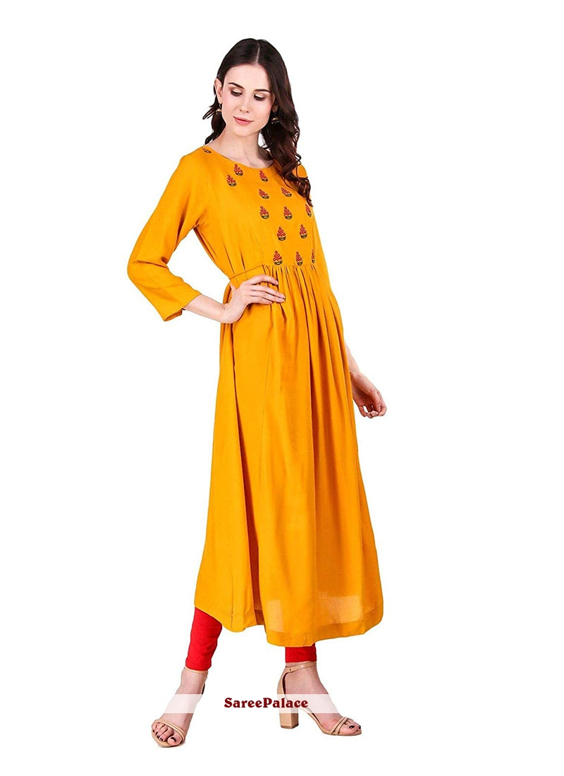 Embroidered Rayon Yellow Party Wear Kurti