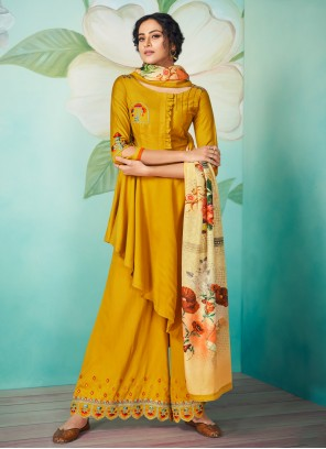 Yellow Embroidered Readymade Designer Salwar Suit