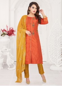 Embroidered Readymade Orange Salwar Kameez