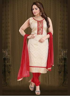 Embroidered Cream Readymade Suit