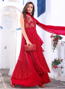 Red Embroidered Readymade Suit
