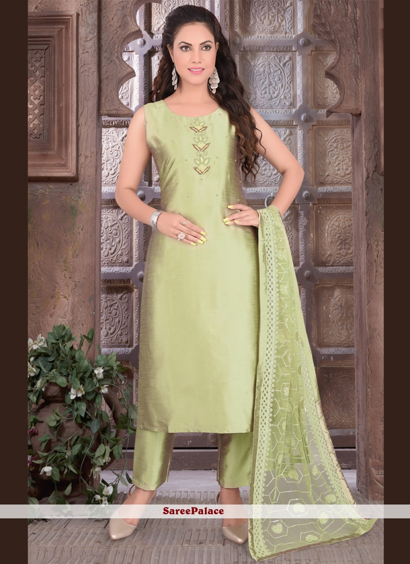 Green Embroidered Readymade Suit