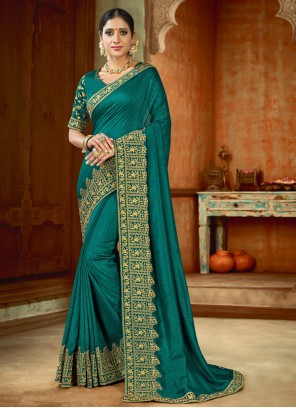 Embroidered Reception Teal Contemporary Saree