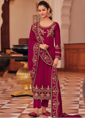 Maroon Embroidered Reception Pant Style Suit