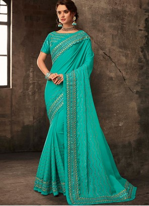 Embroidered Reception Silk Saree