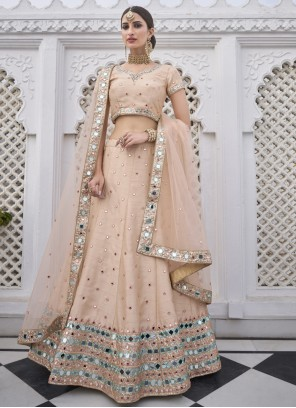 Embroidered Reception Trendy Peach Lehenga Choli