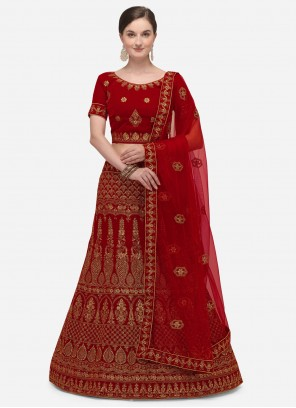 Embroidered Red A Line Lehenga Choli