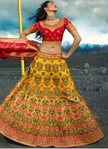 Embroidered Red and Yellow Lehenga Choli
