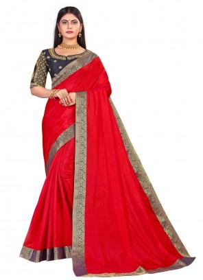 Embroidered Red Art Silk Designer Traditional Saree