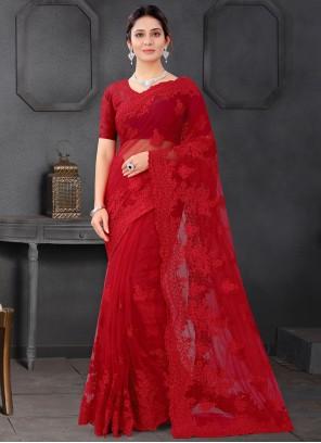 Embroidered Red Classic Designer Saree
