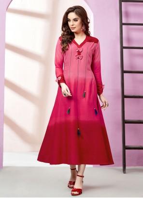 Embroidered Rayon Red Designer Kurti
