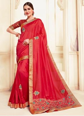 Embroidered Red Designer Saree