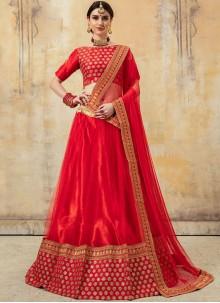 Embroidered Red Fancy Fabric Lehenga Choli