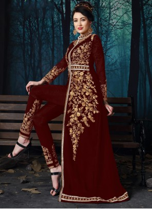 Embroidered Red Georgette Salwar Suit