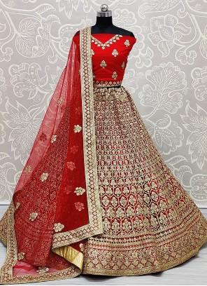 Embroidered Red Net Lehenga Choli