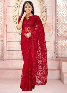 Embroidered Red Net Traditional Designer Saree