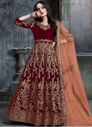 Embroidered Red Salwar Kameez