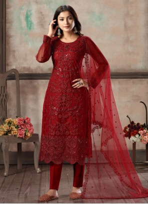 Embroidered Red Salwar Suit