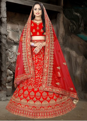 Embroidered Red Satin Lehenga Choli