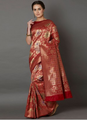 Embroidered Red Silk Saree