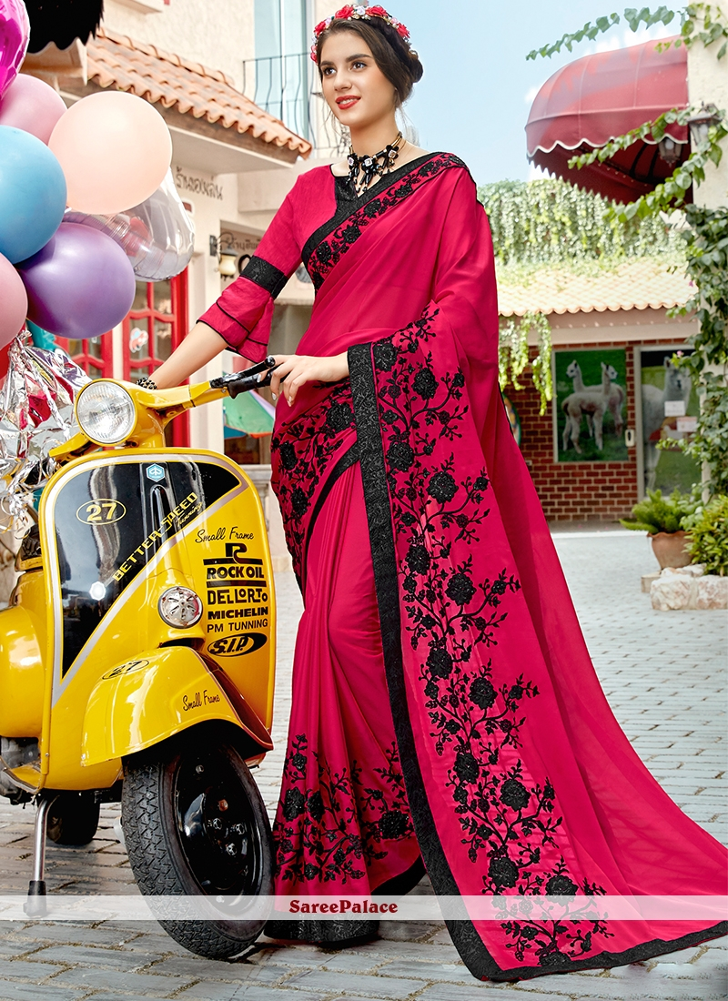 Embroidered Rose Pink Georgette Trendy Saree