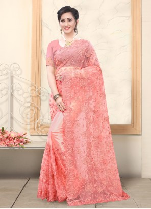Embroidered Rose Pink Net Traditional Saree