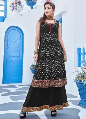 Black Embroidered Georgette Salwar Suit