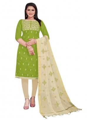 Green Chanderi Embroidered Salwar Suit