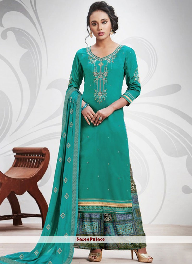 Sea Green Embroidered Salwar Suit