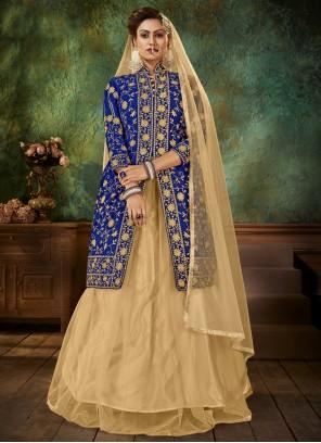Embroidered Sangeet Blue Designer Long Lehenga Choli