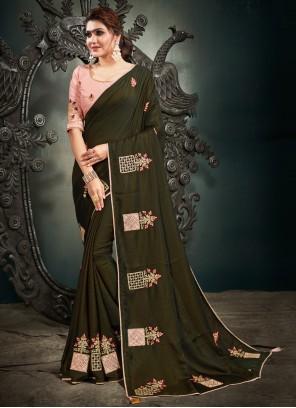 Green Embroidered Sangeet Designer Saree