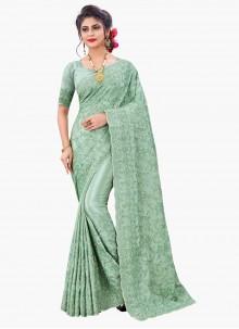 Sea Green Embroidered Sangeet Designer Saree