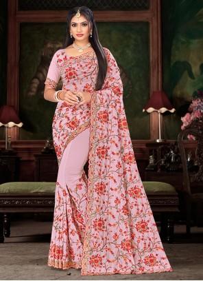 Pink Embroidered Sangeet Designer Saree