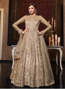 Beige Embroidered Sangeet Floor Length Anarkali Suit