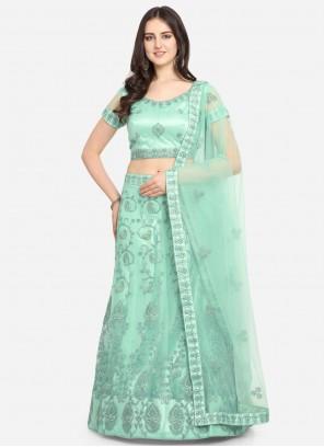Embroidered Sea Green Sangeet Lehenga Choli