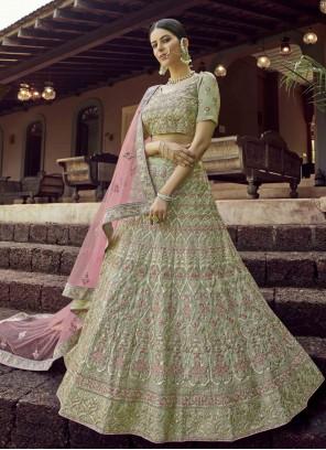 Green Embroidered Sangeet Lehenga Choli